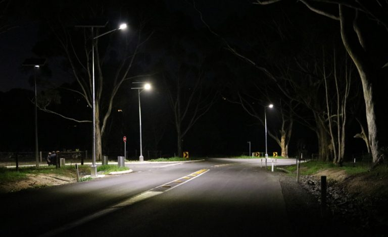 solar powered street lighting of black spot intersection