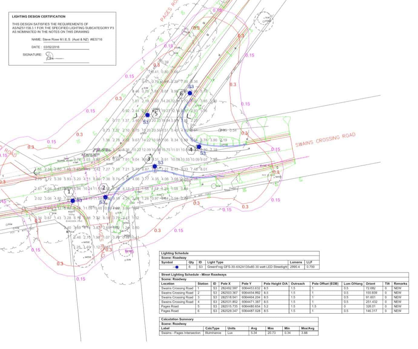 victor harbor swains trd intersection lighting plan