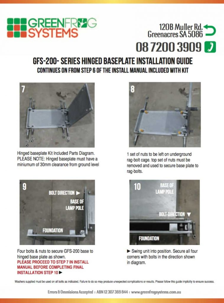hinged base plate installation guide