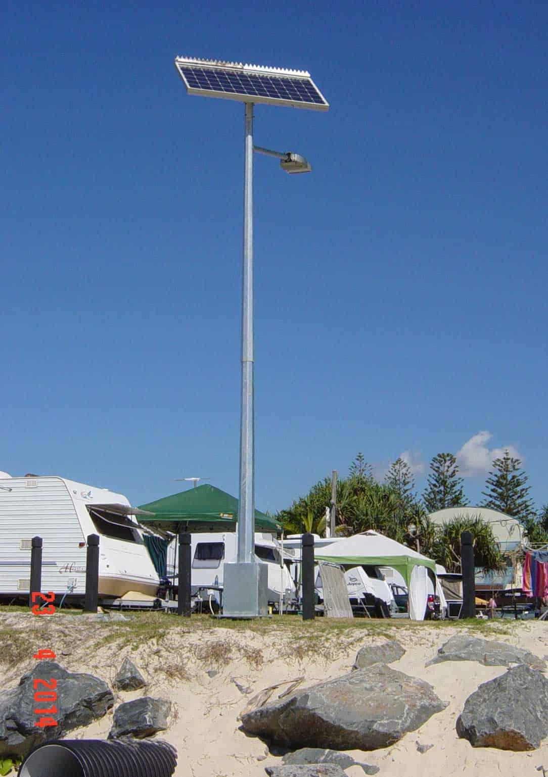 solar street lighting coastal install tweed heads holiday park