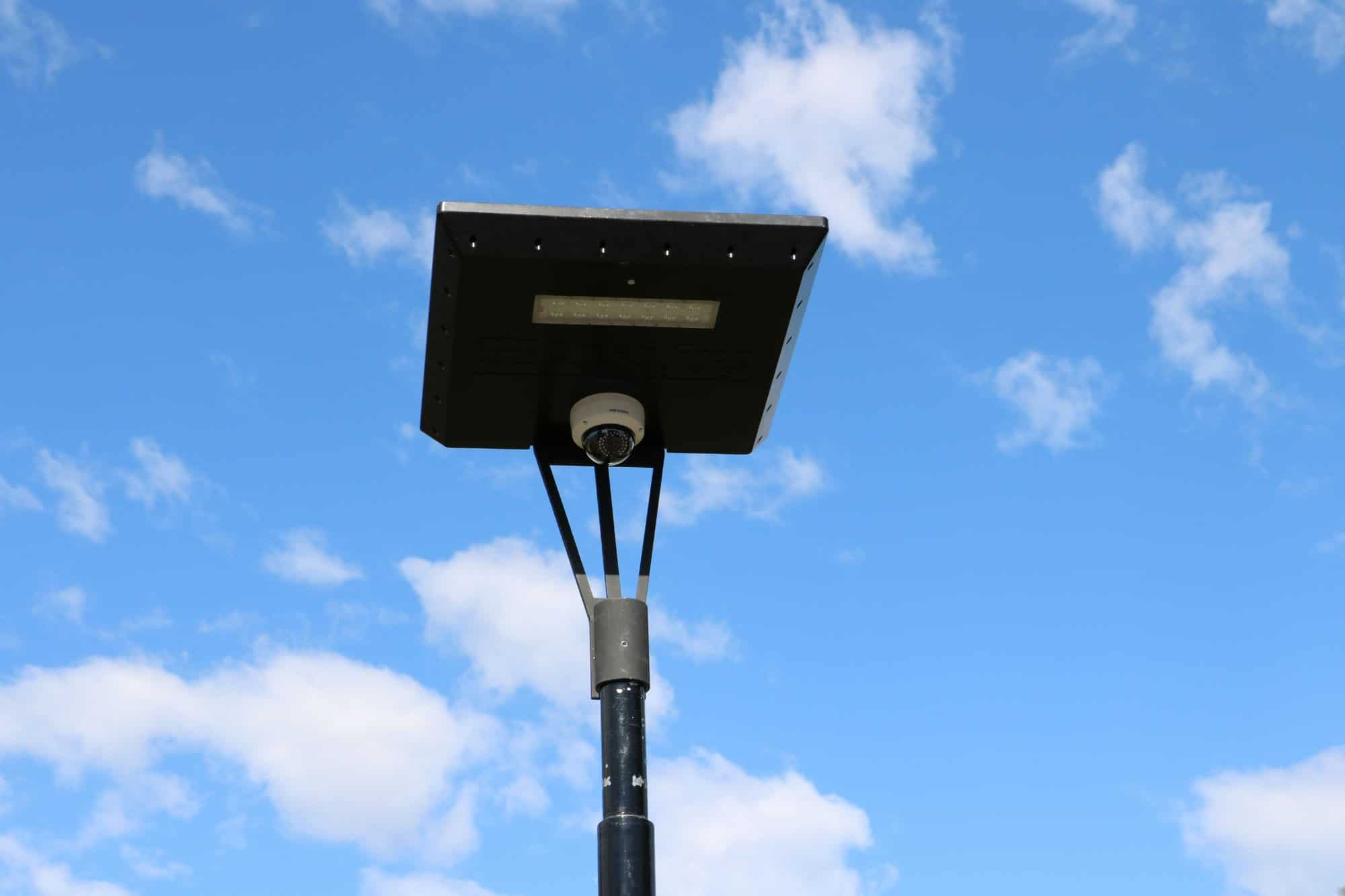 solar security camera on Stealth solar light