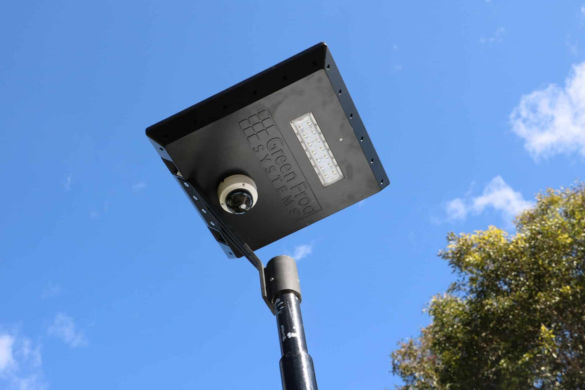 solar powered CCTV security camera on Stealth solar path light