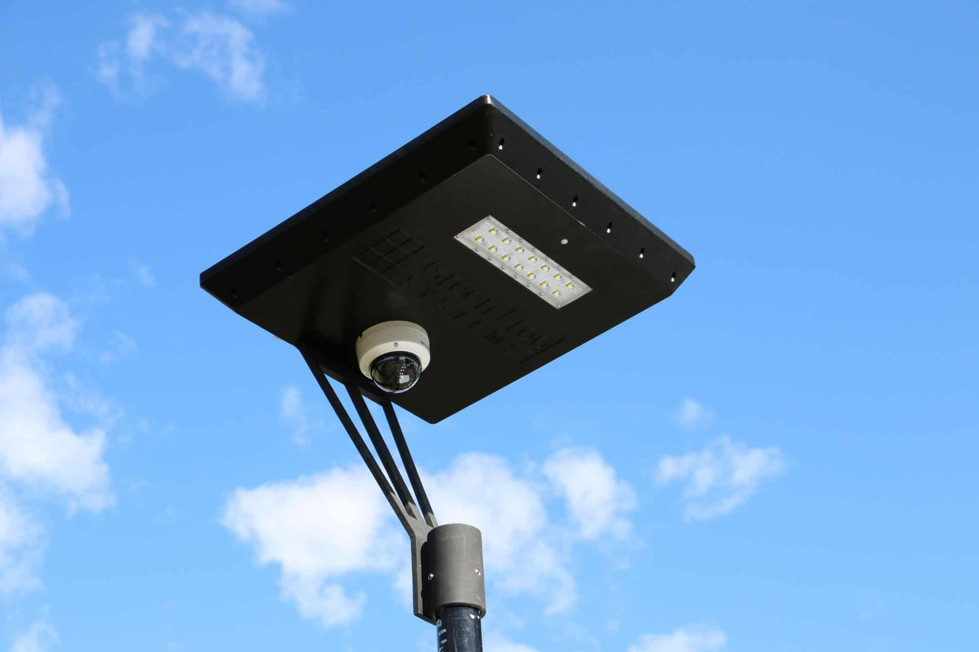 CCTV camera on solar powered light