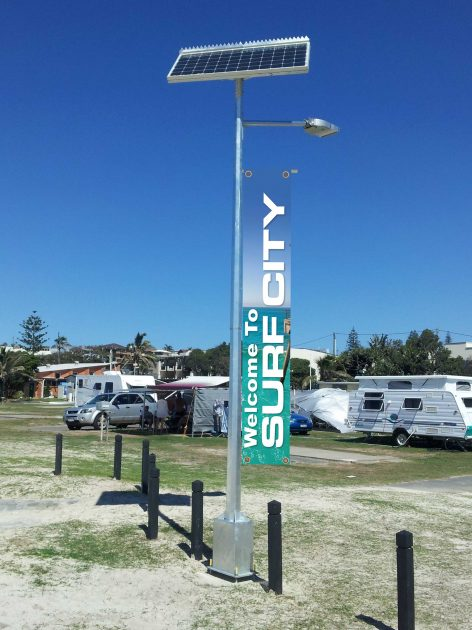 banner support to suit solar street lights