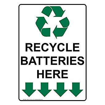 battery recycling sign