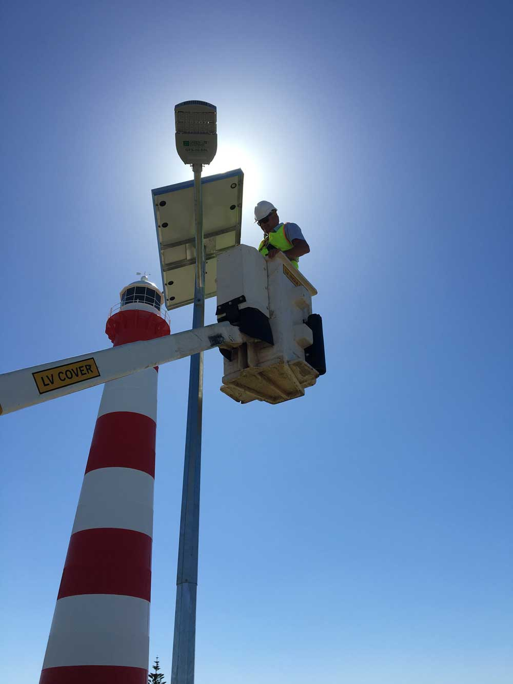 Commisioning the solar street lights in the Point moore car parking area