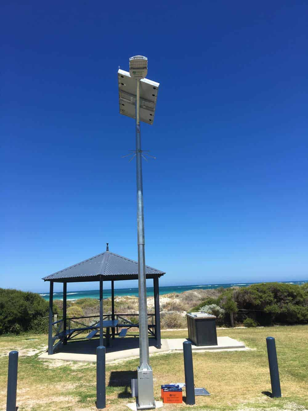 solar street light installed on the coast at Point Moore