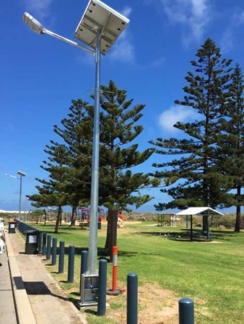 solar street light at Point Moore coastline car park