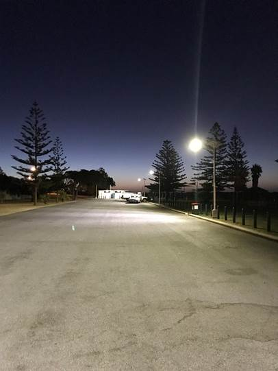 Solar carpark lighting at the Point Moore Costline Parking Area