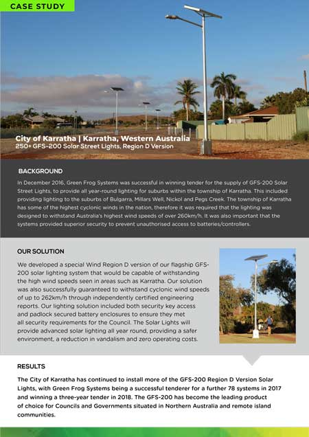 case study for solar security street lighting project in Karratha WA