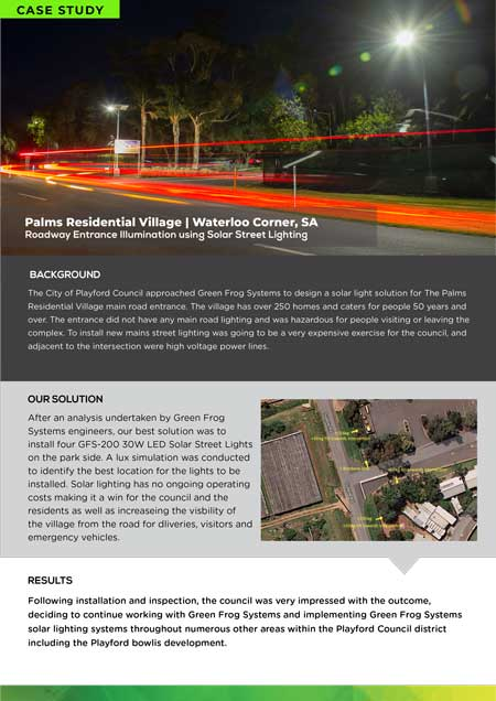 case study for Palms Residential solar roadway entrance lighting project