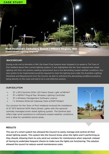 case study for smart connected street lighting for coastal car park at cemetary beach in Port Hedland WA
