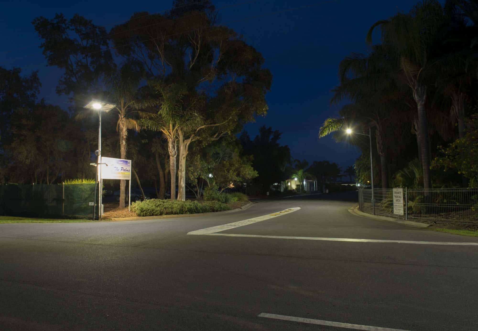 Solar street lighting project at palms residential village SA