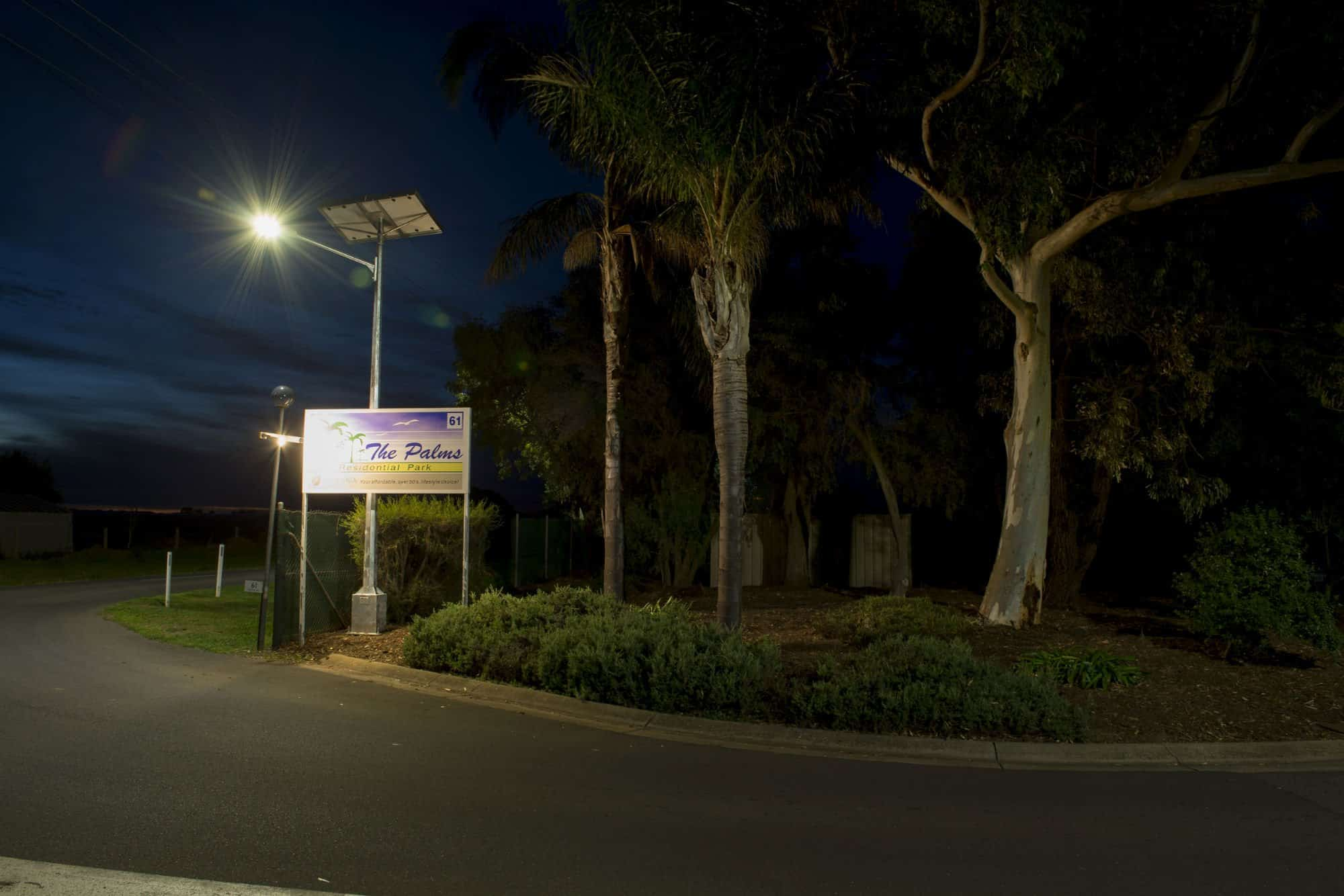 Solar street lighting on the entrance of Palms Residential Village