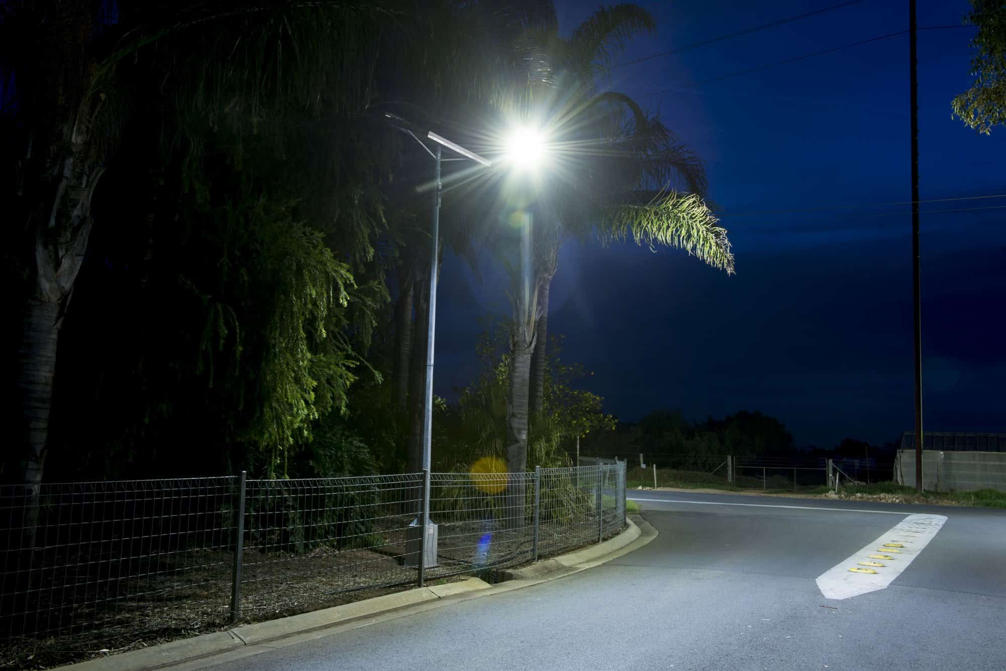 Solar powered roadway entrance lighting project
