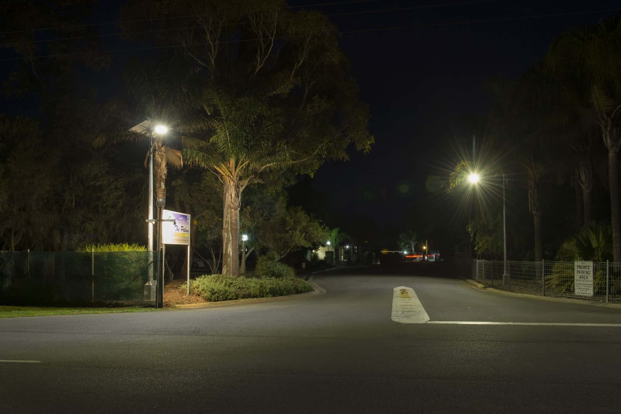 Solar road entrance lighting project at Palms Residential Village