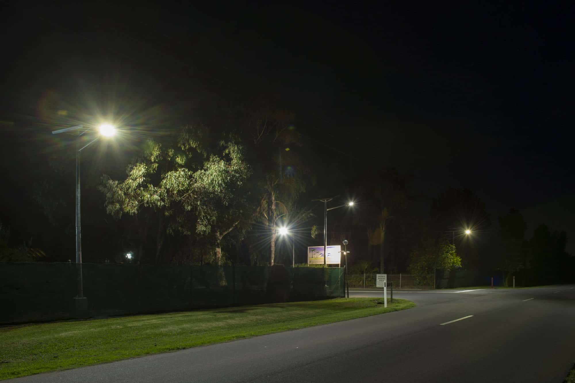 Solar roadway entrance lighting project at Palms Residential Village