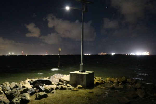 temporary solar lighting on portable block - rock jetty St. Kilda SA