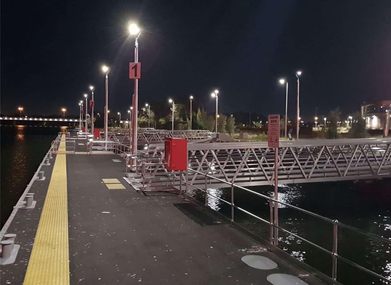 Solar marina lighting at the burswood jetty Perth, WA