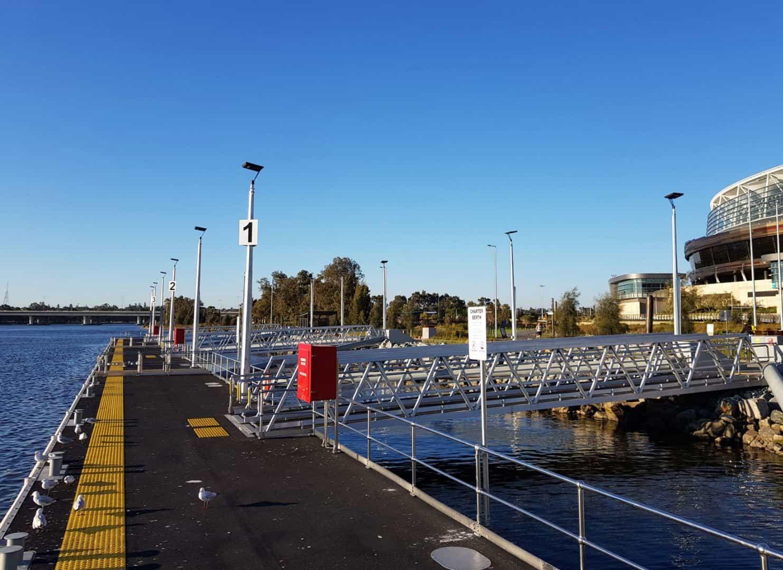 solar marina lighting project at burswood jetty Perth WA