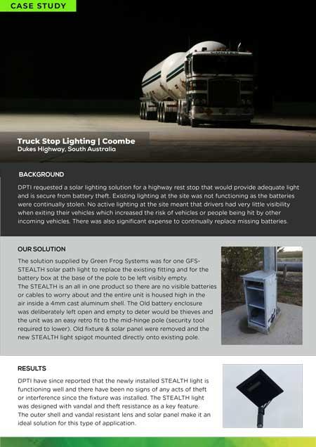 Solar truck stop lighting on Dukes highway