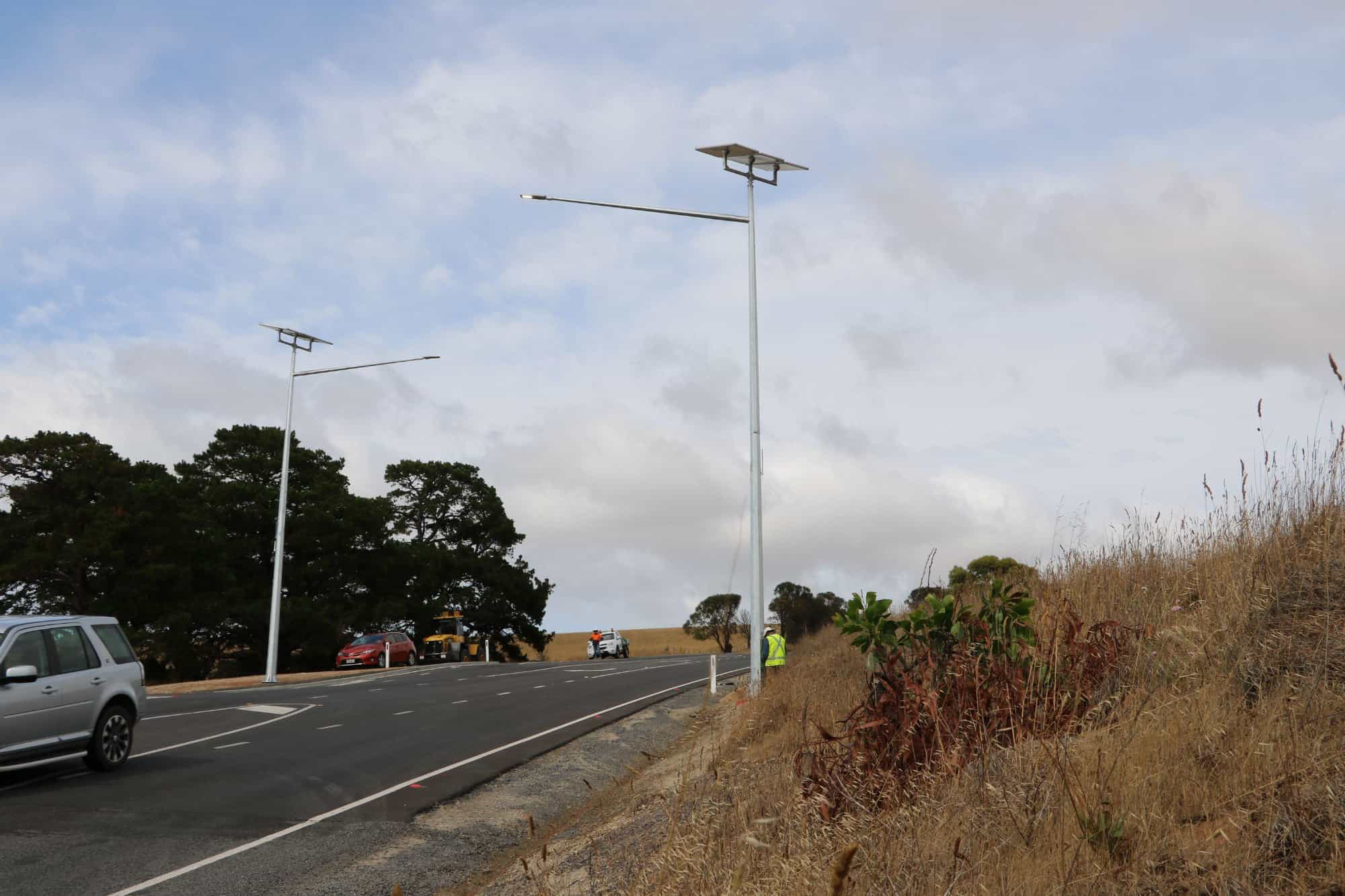 solar street lighting installation at Victor Harbor