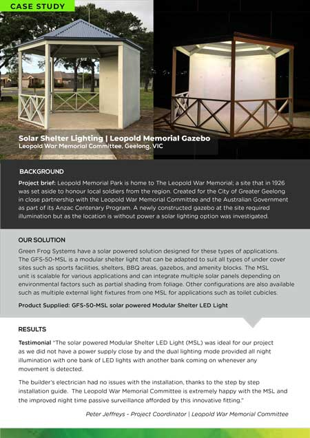 solar shelter lighting case study Leopold Geelong