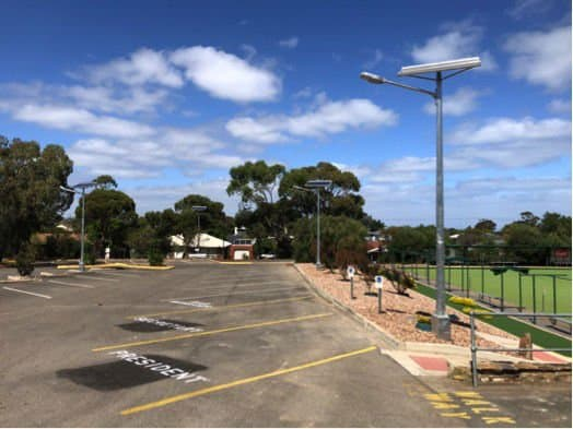 solar car park lighting at christies beach bowls club