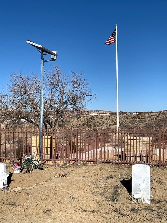 solar flag lighting at Hillcrest Cemetery